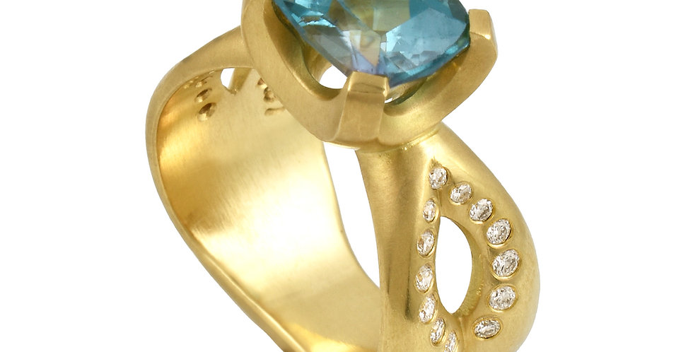 Blue Zircon Diamond Statement Ring