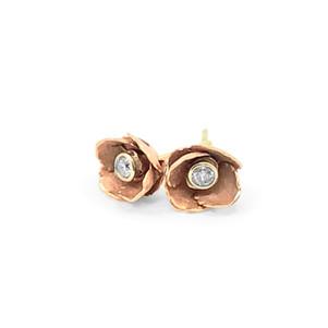 Ruth Edelson Rose gold diamond rose stud earrings