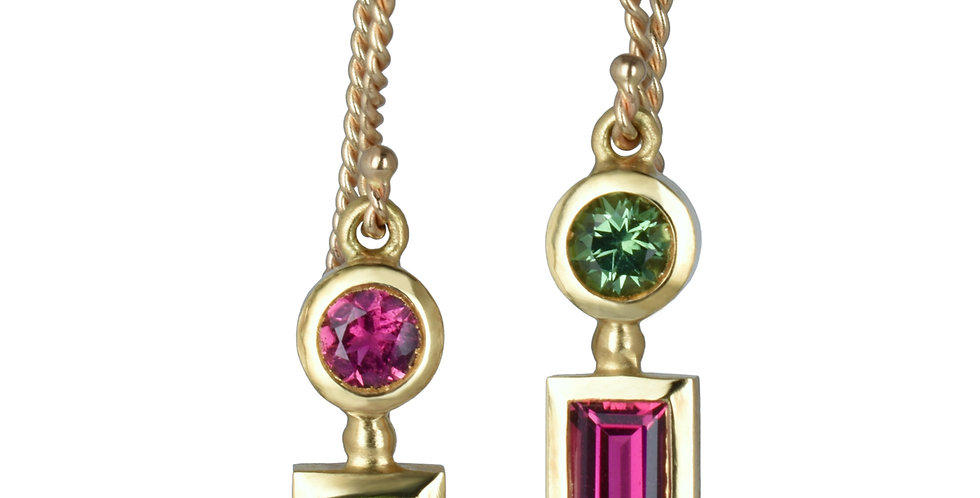 Mis-matched Pink and Green Tourmaline Earrings