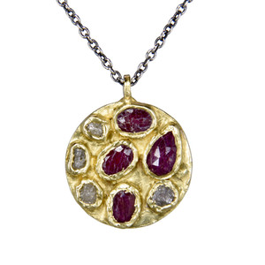 sapphire and raw diamond pendant