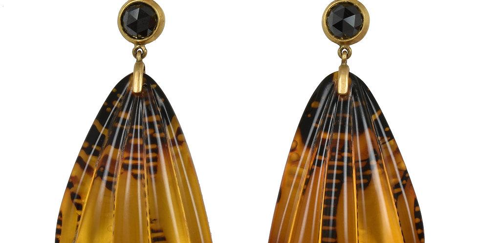 Carved Amber Butterfly Wings, Black Diamond & Pearl Earrings