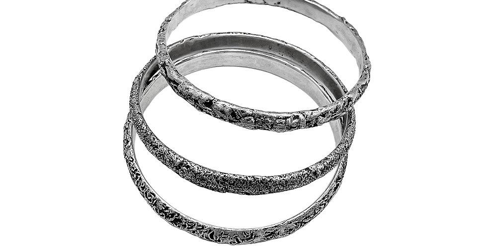 Textured Silver Bangle Bracelets by Dori Friedberg