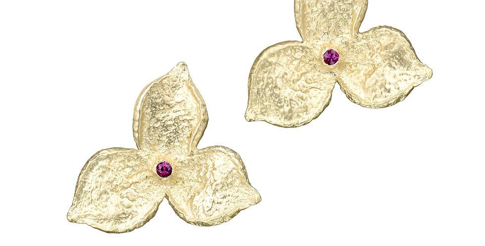 Fairmined Gold 3 Petal Ruby Statement Stud Earrings