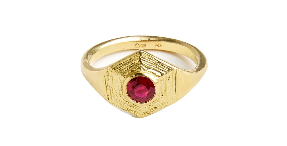 Ruby Sphaera Hex Ring