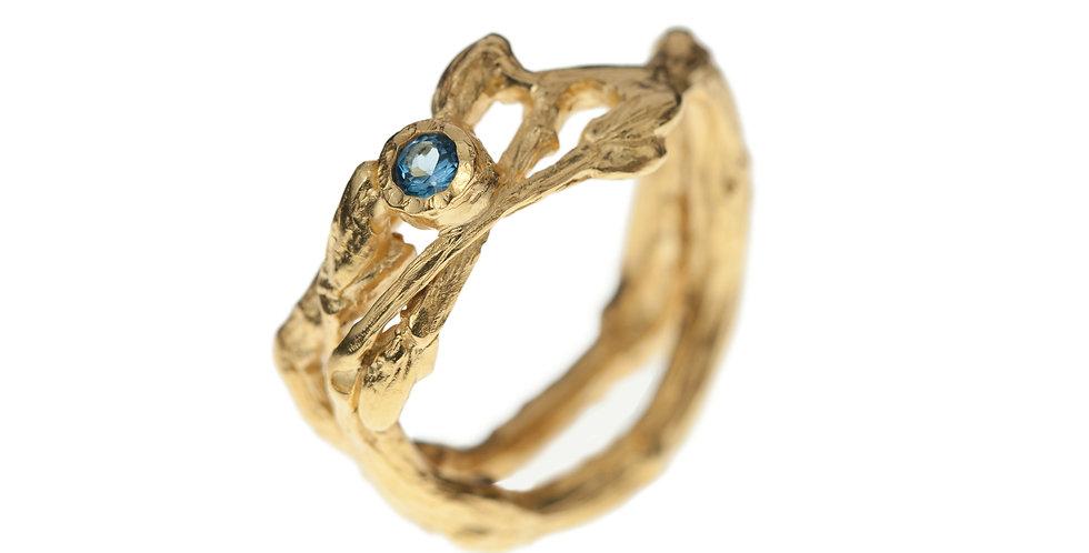 BlueTopaz 18k Gold Twig Ring