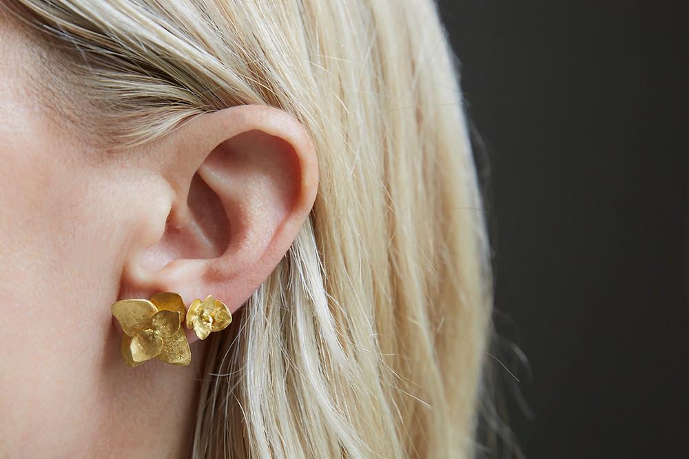 Double Peircing 22k Eucalyptus Earrings