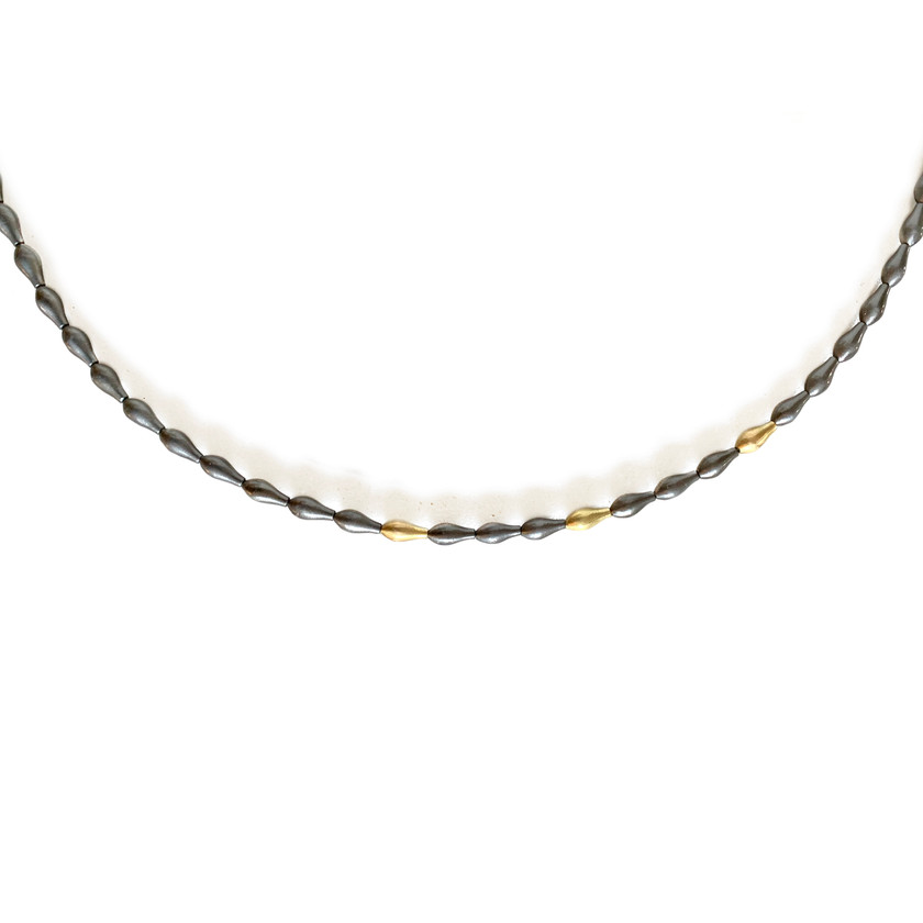 Grey and Gold Pod Necklace
