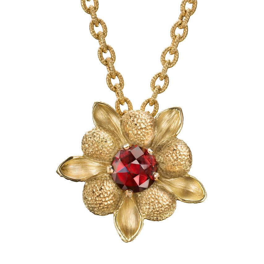 Lori Anne - Red Garnet Dahlia Pendant