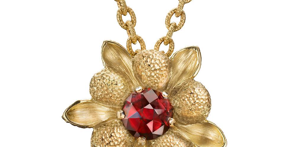 Red Garnet Dahlia Pendant