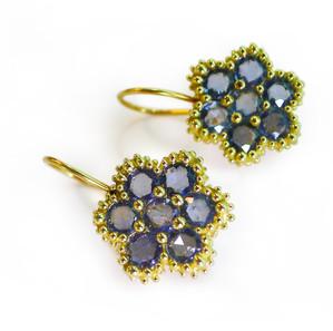 Blue Sapphire Flower Earrings by Angelica Cammarota