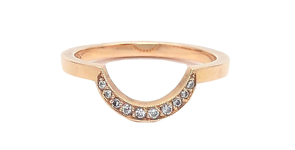 Diamond Crescent Stack Ring