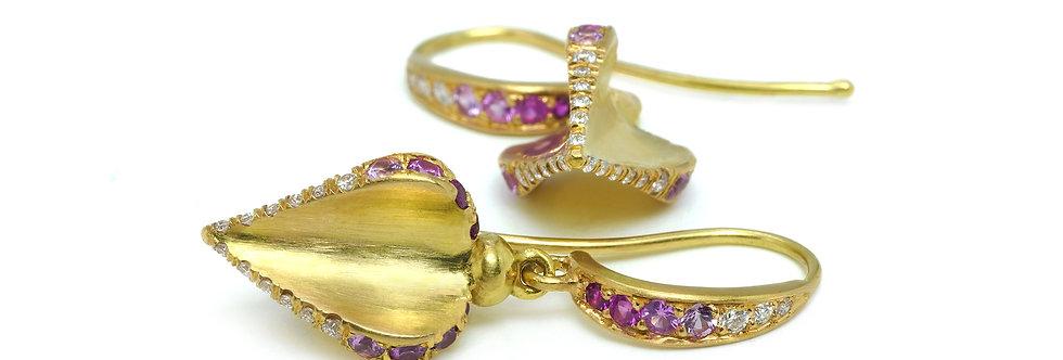 Ruby, Diamond, & Pink Sapphire Ombré Earrings