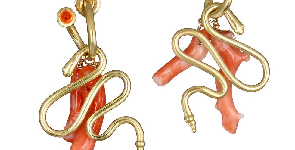 Gold Snake and Coral Branch Charm Earrings on Mandarin Garnet Peek a Boo Hoops