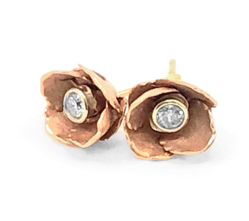 Ruth Edelson 18k rose gold rose blossom diamond stud earrings