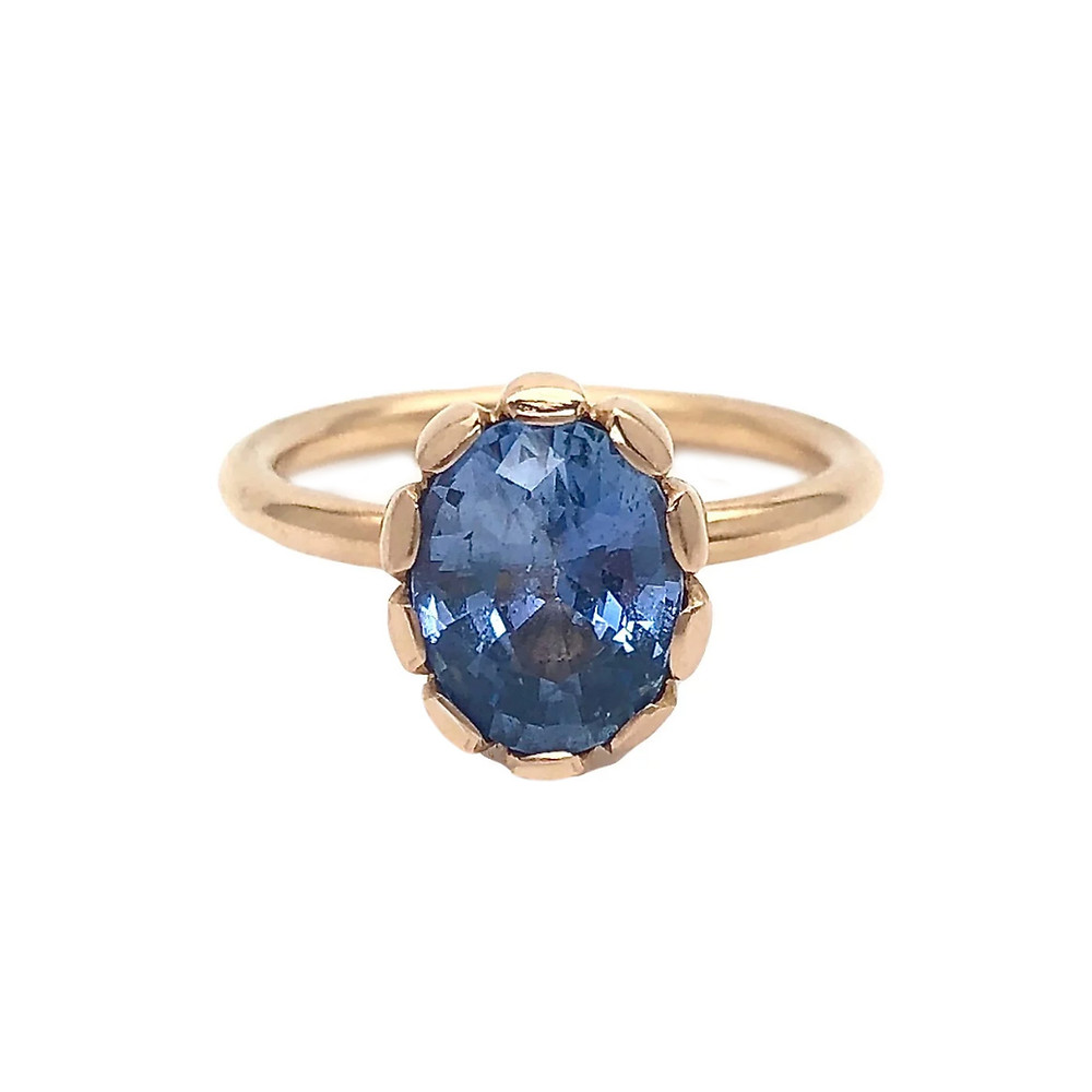 Rachel Beck Oval Blue Sapphire 18k Gold Engagement Ring