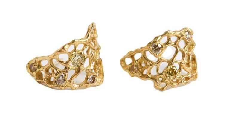 Gold & Diamond Sea Fan Huggie Earrings