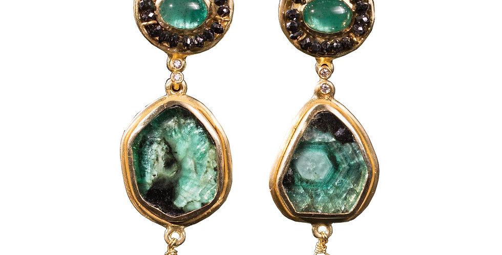 Emerald Slice, Cabochon , & Drop Earrings