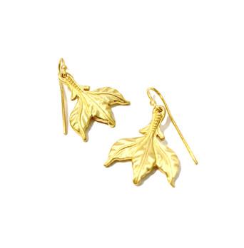 22k Leaf Trident Earrings by Jimena Roel