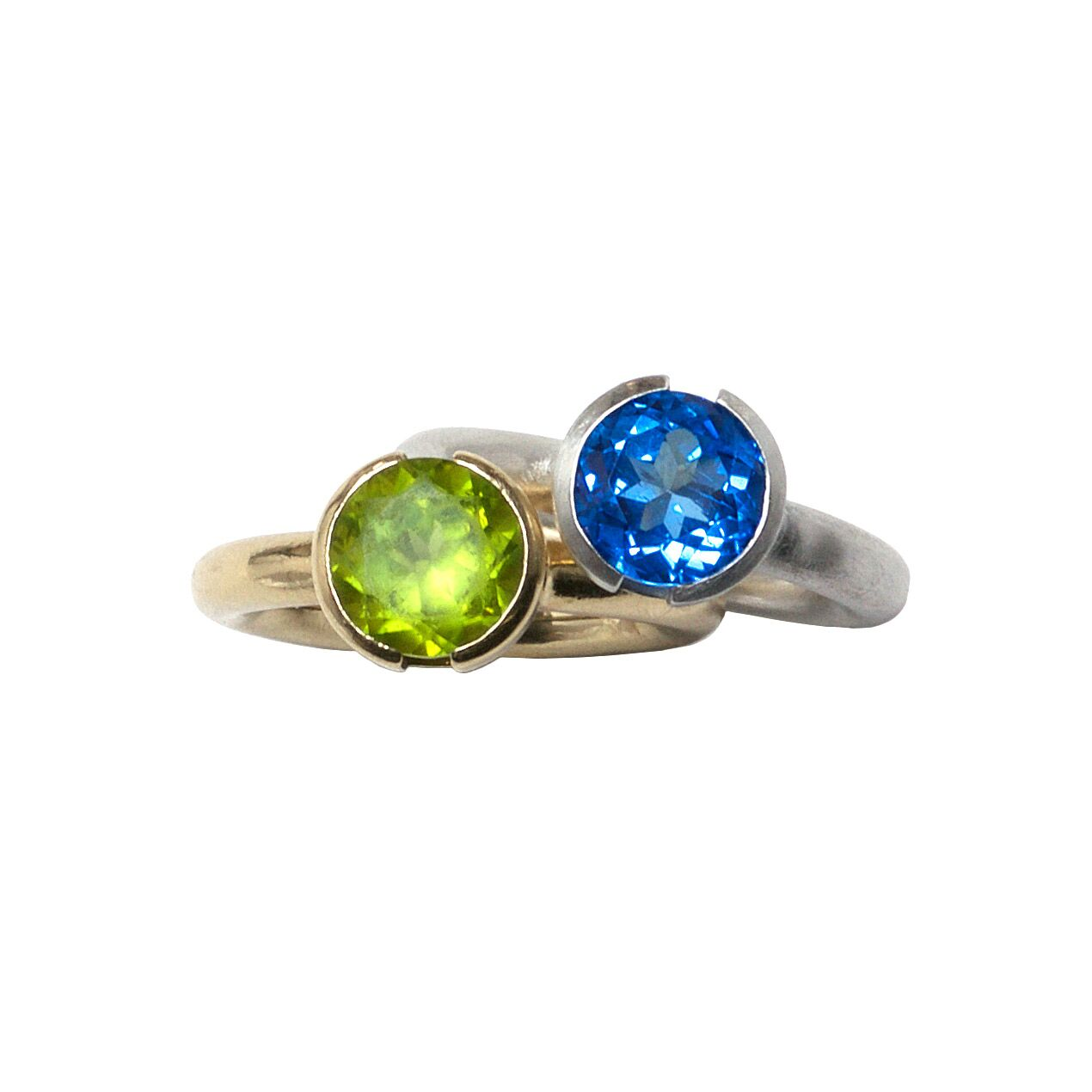 Peridot and Blue Topaz Rings