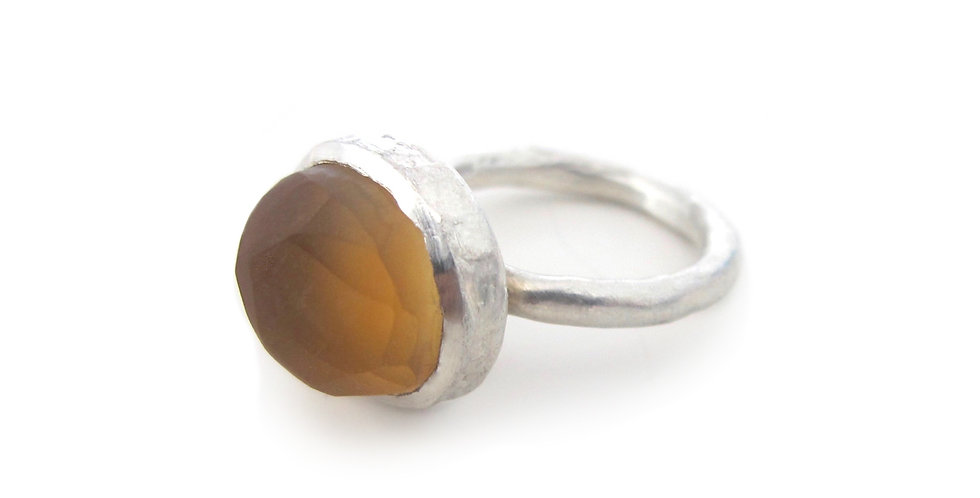 Rough Citrine Amulet Ring