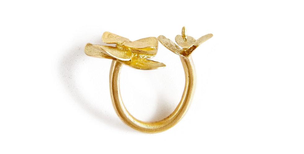 Adjustable Gold Eucalyptus Ring