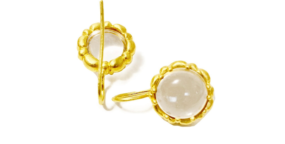 Clear Quartz and Gold Rosca Earring