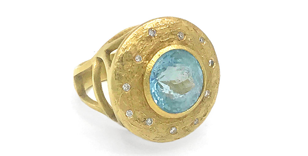 Blue Topaz Petal Ring