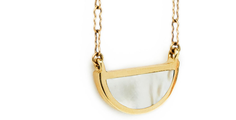 Mother of Pearl Half Circle Pendant