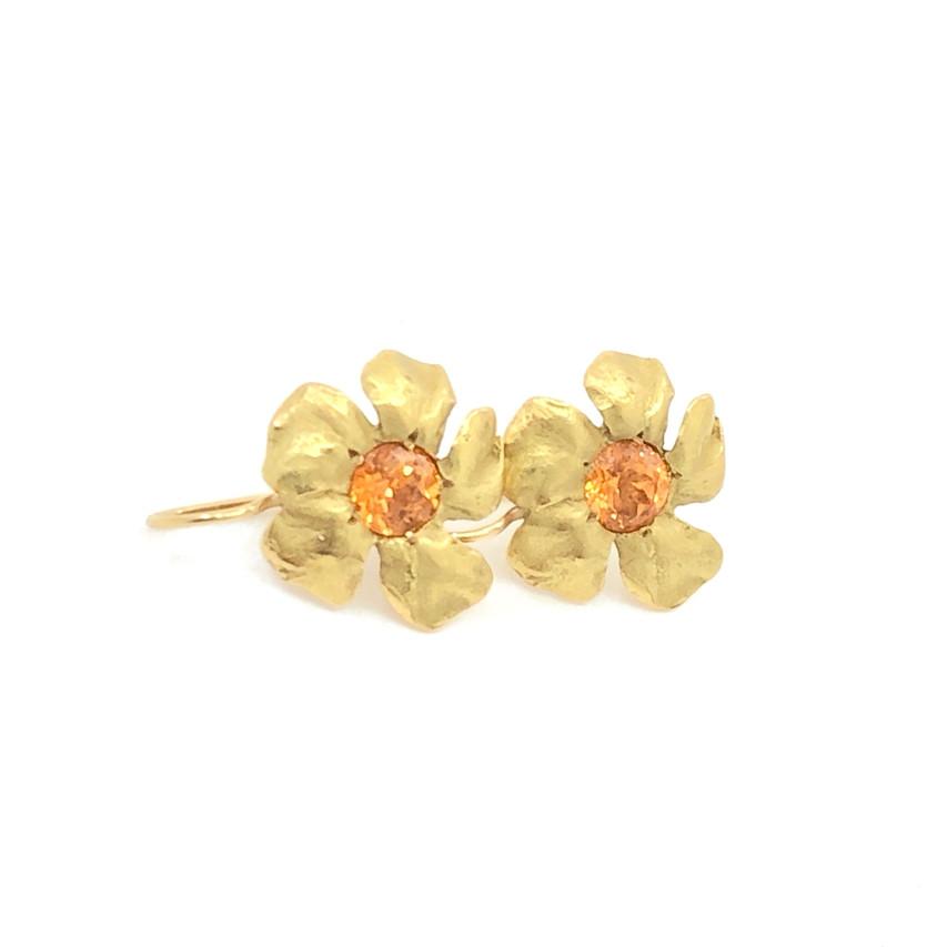 Ruth Edelson - Mandarin Garnet Gold Flower Stud Earrings