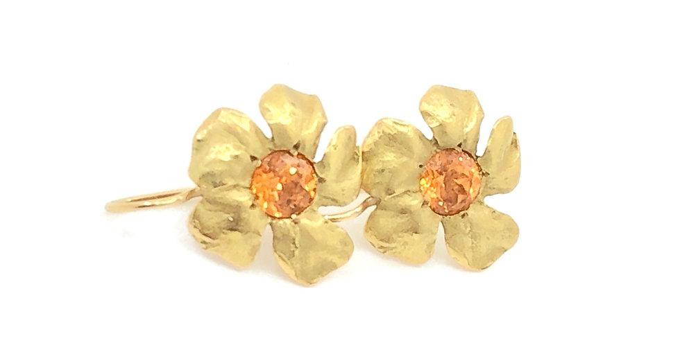 Mandarin Garnet and Gold Flower Earrings