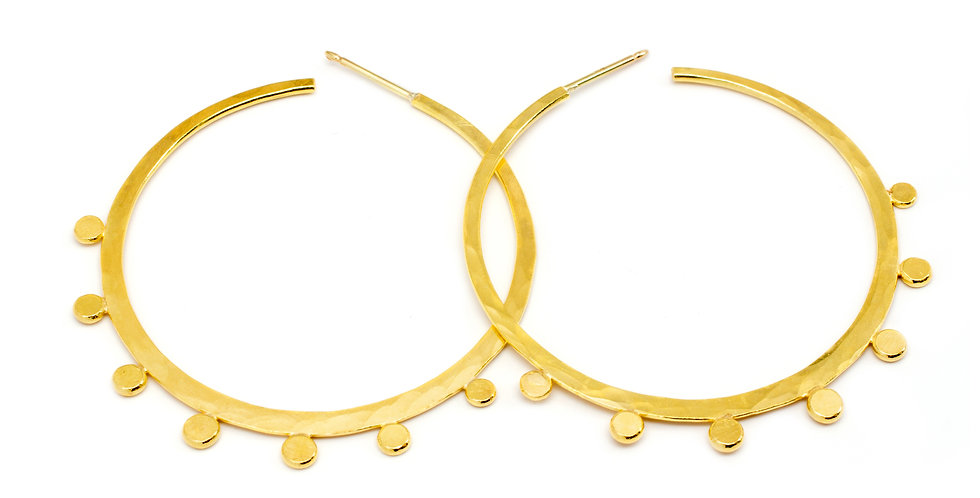 Fiery Rings Hammered Gold Hoop Earrings