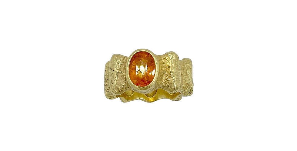 Mandarin Garnet Ridged Ring by Dori Friedberg