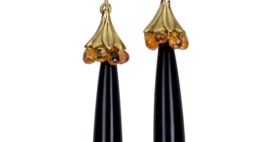Black Onyx and Sapphire Art Deco Dangle Earrings