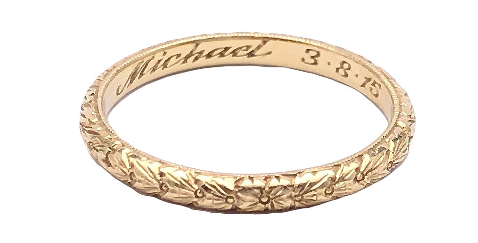 Demeter Engraved Gold Wheat Ring