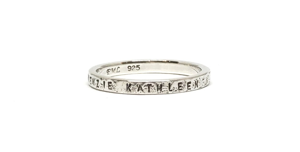 Blackened Sterling Silver Personalized Stacking Name Ring