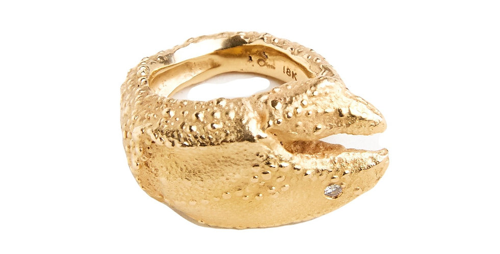 Peach Gold Lobster Claw Ring
