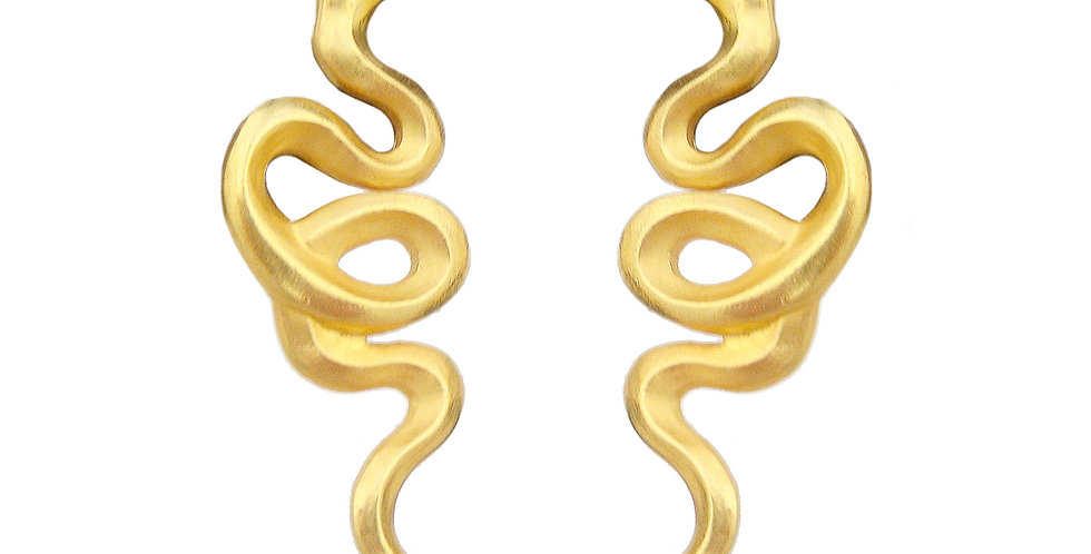Gold Snake and Ruby Stud Earrings