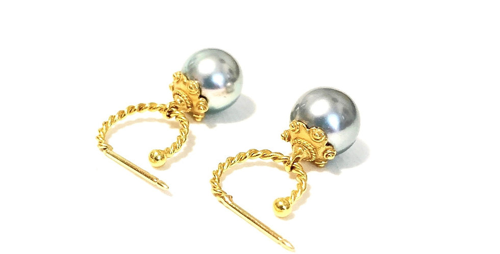Twisted Hoop Tahitian South Sea Pearl Earring