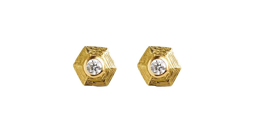 Micro Hex Diamond Stud