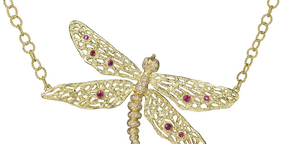 Gemstone Dragonfly Necklace