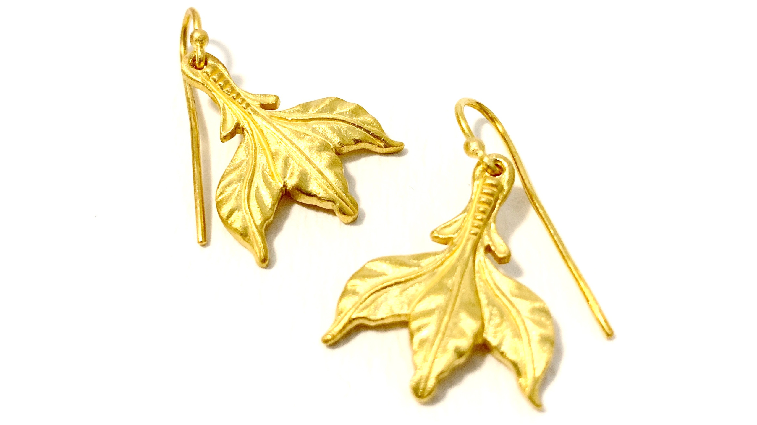 Jimena Roel 22k Gold Leaf Earrings