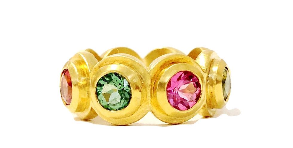 Pink and Green Tourmaline Step Bezel Ring