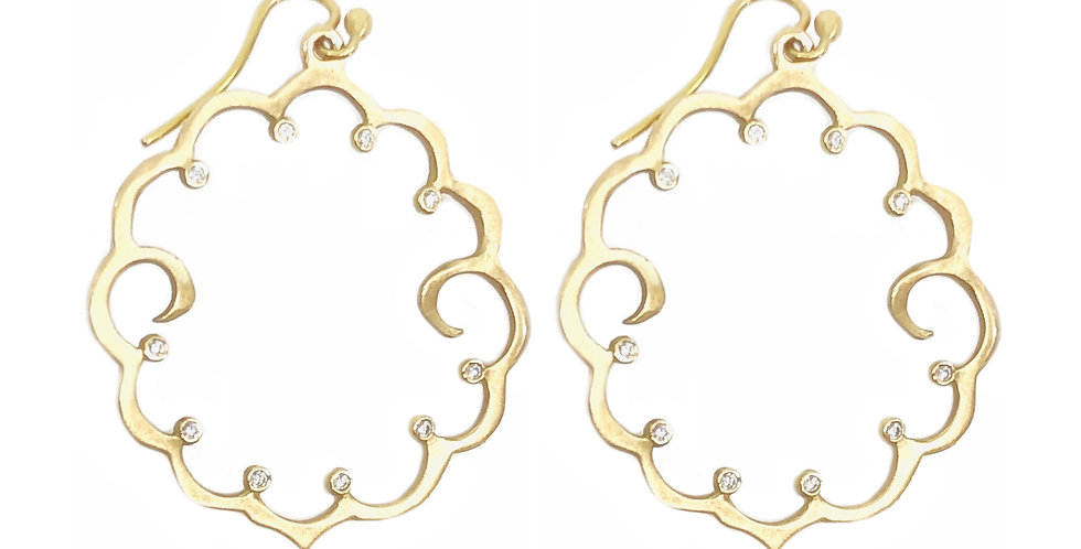 Gold and Diamond Swirl Hoop Earrings