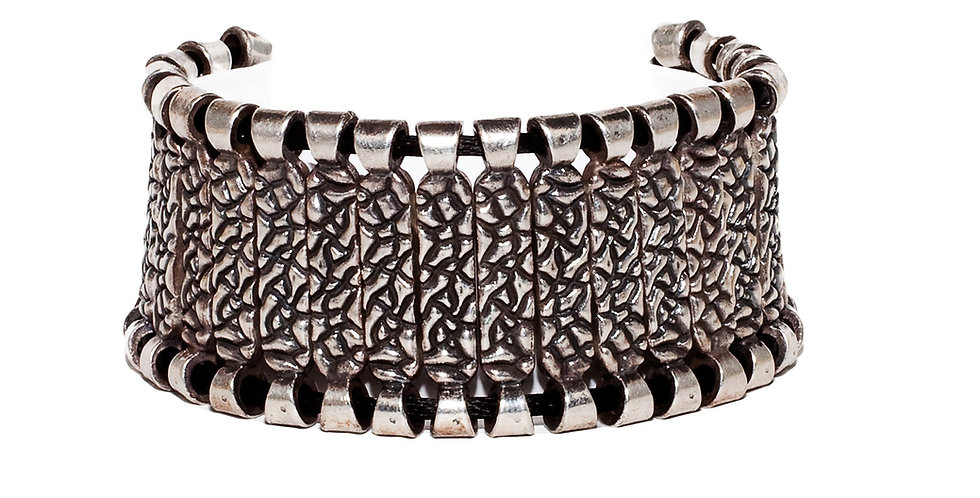 Animal texture Silver Cuff Bracelet