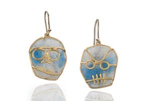 paraiba quartz skeleton earrings