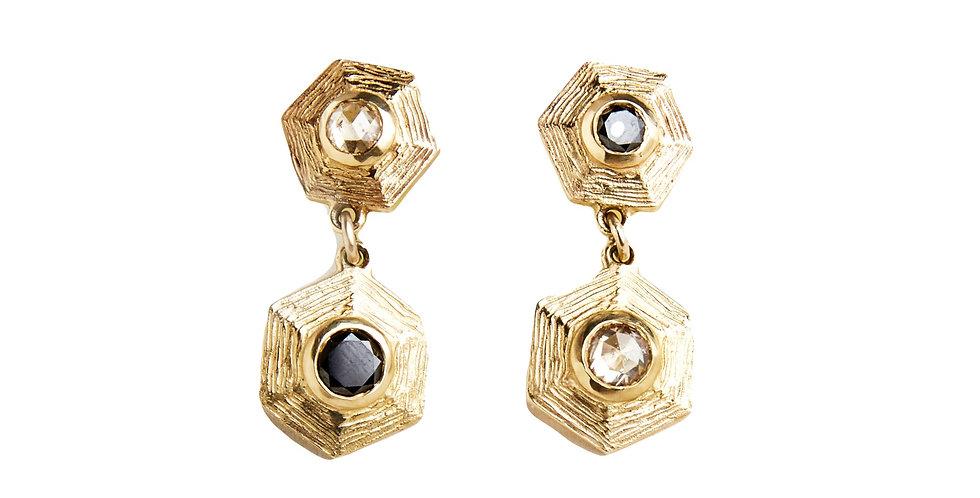 Sphaera Hex Black and White Diamond Hanging Earring