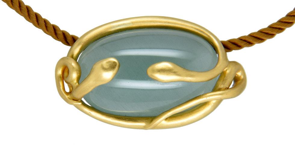 Aquamarine Cab Gold Snake Pendant