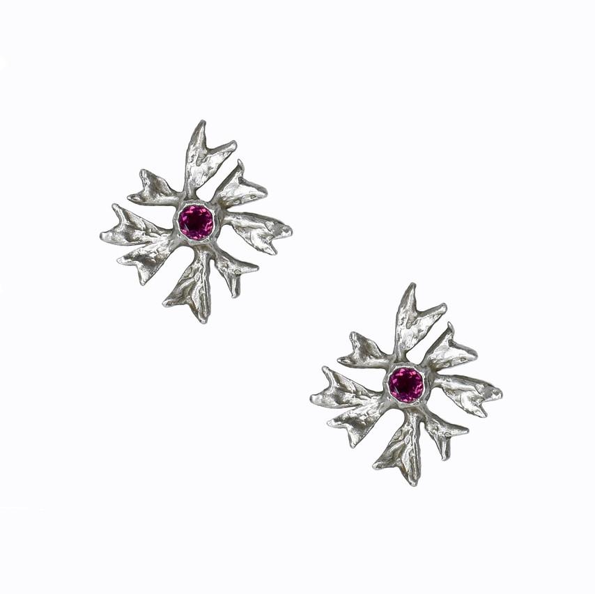 Sandrine B. Jewelry - Rhodolite Garnet Maple Leaf Stud Earrings