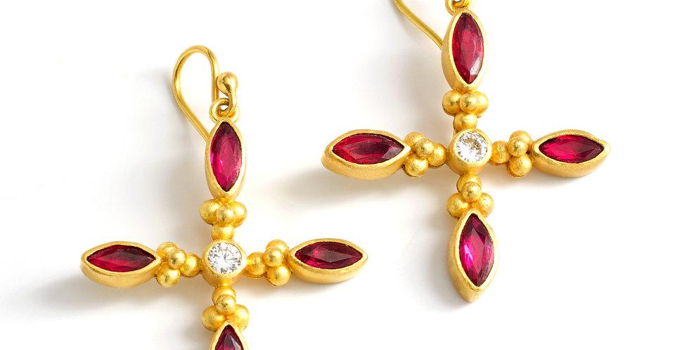 Linda Hoj Quasar Ruby & Diamond 22k Earrings