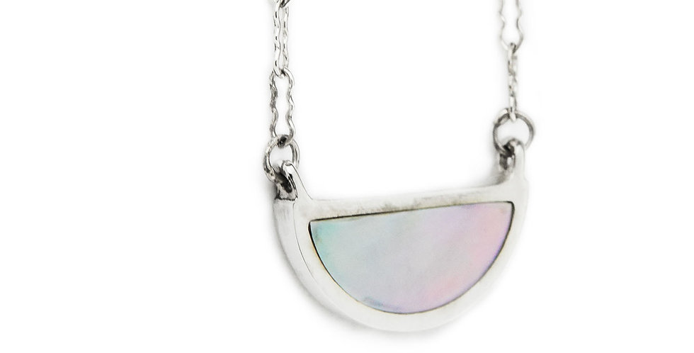 Silver Mother of Pearl Half Circle Pendant